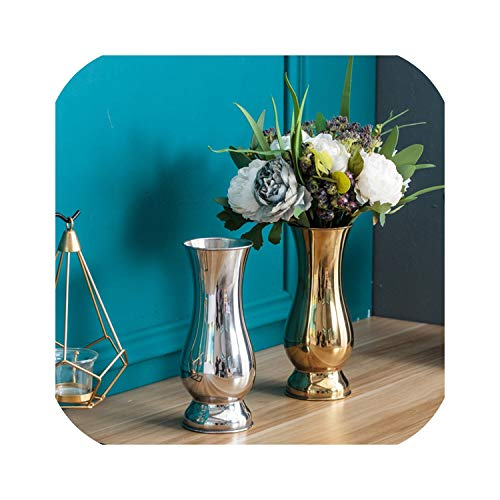 my cat Tischvasen im chinesischen Stil Modern Minimalist Fashion Ornaments Crafts Dekorative Vase aus Edelstahl Metall Blumenvasen 3 Punkt 5 Silber