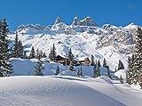 wandmotiv24 Fototapete Verschneite Alpen Größe: 350 x 260 cm Wandbild, Motivtapete, Vlietapete KTk454