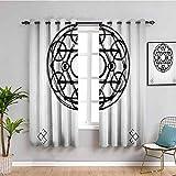 Sagrada geometrty Decor cortina aislada minimalista redondo forma múltiples triángulos simétricos ocultistas sombra insonorizada negro gris ancho 63 x largo 72 pulgadas
