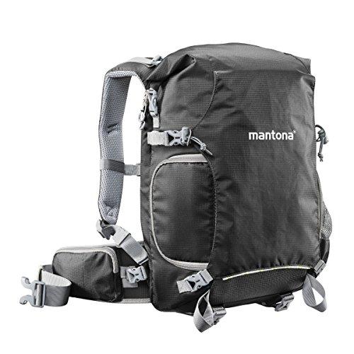 Mantona ElementsPro 30 Outdoor Rucksack (inkl. abnehmbarem Hüftgurt und Regenhülle, geeignet für DSLR- oder Systemkameraausrüstung) schwarz