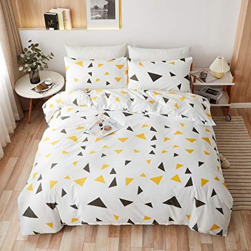 LAMEJOR Duvet Cover Set Queen Size Colorful Geometric Triangle Pattern Reversible Luxury Soft Bedding Set Comforter Cover (1 Duvet Cover+2 Pillowcases) White