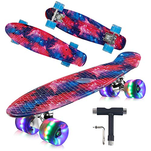 "Geelife 22"" Complete Mini Cruiser Skateboard for Beginners Youths Teens Girls Boys with LED Wheels (Nebulae)"
