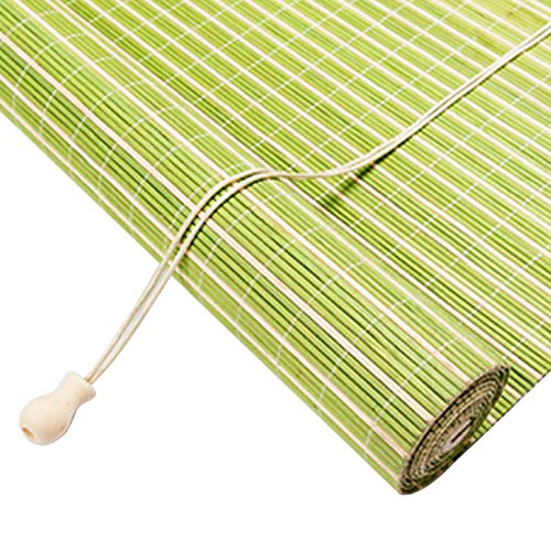 Roller blind Persiana de Bambú per Interior/Exterior,Balcón/Ventana/Puerta Cortina Protección Solar,Verde Estores de Bambú Cortina de Madera Persiana Enrollable,Personalizable (100x200cm/39x79in)