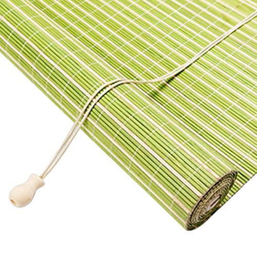 Roller blind Persiana de Bambú per Interior/Exterior,Balcón/Ventana/Puerta Cortina Protección Solar,Verde Estores de...