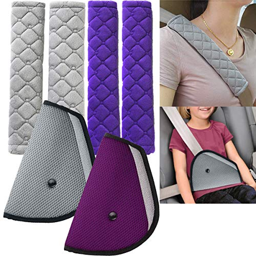 Auto Sicherheitsgurt Schulterpolster,Osuter 4PCS Auto Gurtpolster Universeller mit 2PCS Kinder Sicherheitsgurt Dreieck für Kinder und Erwachsene