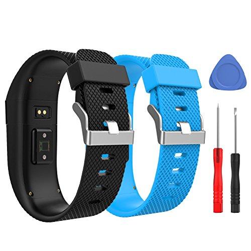 MoKo Bande pour Fitbit Charge HR, [Lot de 2] Bracelet de Remplacement en Caoutchouc Souple de Qualité Supérieure pour Fitbit Charge HR Fitness Wristband, Grande Taille, Noir&Bleu Foncé