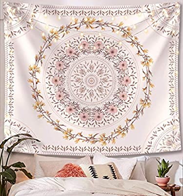 Lifeel White Bohemian Tapestry Wall Hanging, Mandala Floral Medallion Hippie Tapestry with Light Brown Aesthetic Wreath Design, Cream Wall Decor Blanket for Bedroom Home Dorm, Large 68×80 inches