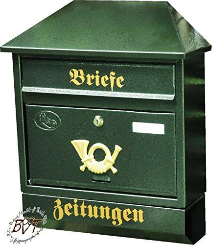 BTV Großer Briefkasten, mit Rostschutz Walmdach W/gr grün dunkelgrün moosgrün Zeitungsfach Zeitungsrolle Postkasten NEU