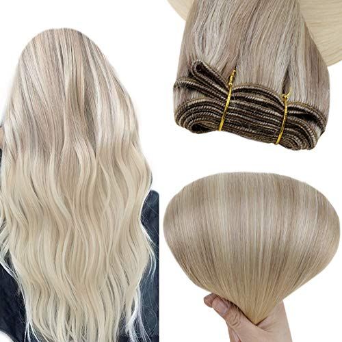 Easyouth Sew in Extensions 14Inch 70g Color Ash Blonde Fading to Blonde Highlighted Platinum Blonde Sew in Weave Human Hair Weave for White Women