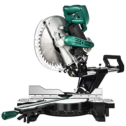 Sliding Miter Saw, SUNCOO 10 inch 15Amp Single Bevel Sliding Compound Miter Saw, Crosscutting Miter Saw, Adjustable Cutting Angle, Extensible Table, 40T Blade (10 IN)