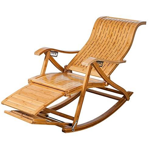 Silla plegable Silla ajustable informal reclinables tipo S de listones de bambú mecedora Viejo Silla Siesta silla perezosa sillón de jardín Tumbona tumbonas de playa Silla extraíble Toallita de algodó