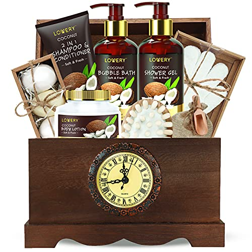 Luxury Bath Gift Set in a Vintage Style Wooden Clock Box – 13 Piece Premium Coconut Spa Kit for Men & Women with Body Lotion, Handmade Soap, Bath Bomb, Coconut Shampoo & Conditioner, Massager & More