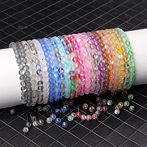 FIISH Pulseras de Piedra Lunar de Cristal Austriaco de 6 Mm Pulseras Trenzadas con Cuentas de Cristal de Sirena Mate para Mujeres y Hombres, Pulsera Hecha a Mano, joyería