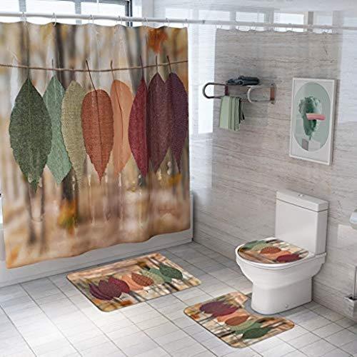 JTLiChunLins 4-delige set van bedrukte esdoorn blad wc-mat douchegordijn antislip badmat voor badkamer