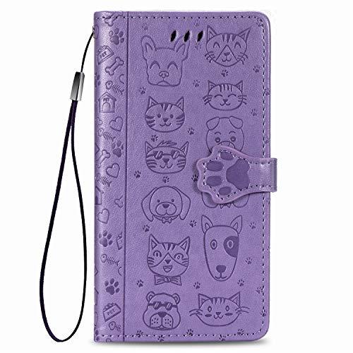 Fertuo Hülle für Redmi Note 9S, Handyhülle Leder Flip Hülle Tasche mit Kartenfach, Magnet & Standfunktion [Katze H& Muster] Schutzhülle Cover für Xiaomi Redmi Note 9S / Note 9 Pro, Lila