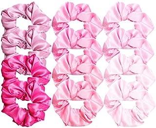 Cubaco 12 Pieces Satin Hair Scrunchies Elastic Hair Bobbles Scrunchy Hair Ties Ponytail Holder Hair Elastic, Pink Lovers