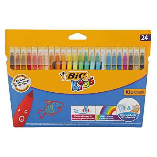 BIC Kids Filzstifte Kid Couleur, zum Malen in 24 auswaschbaren Farben, mit stabiler Spitze, im Karton Etui, ab 5 Jahre