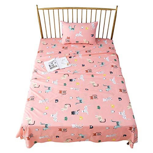 Sivio Twin Size Bed Sheets Pink Cat Theme 3-Piece Kids Bedding Set │ Unisex, Super Soft Cozy Cotton, Durable, Moisture Wicking Bedding | 1 Flat & 1 Fitted Sheet, 1 Pillow Cases | 14