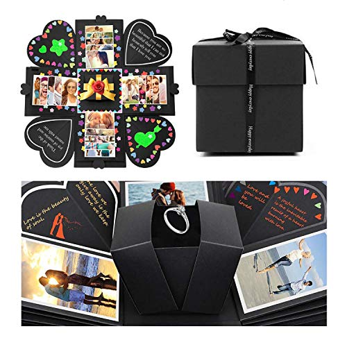 JOYUE Creative Explosion Box Caja de Regalo Sorpresa DIY Photo Album Scrapbook Regalos de Valentín, Cumpleaños, Aniversario (Caja de Regalo Negro)