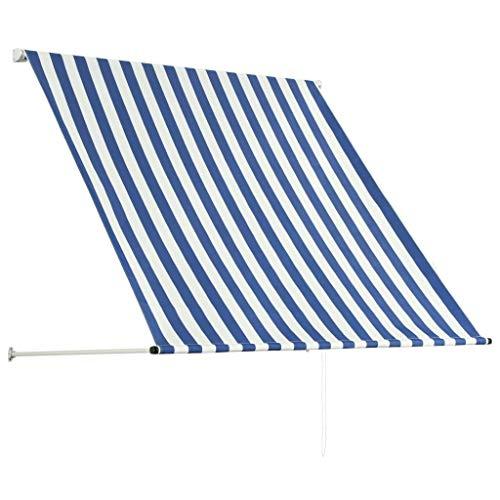 Festnight Einziehbare Markise Einziehbar Klemmmarkise Balkonmarkise Sonnenschutz 100 x 150 cm Blau und Weiß UV- und wasserbeständig