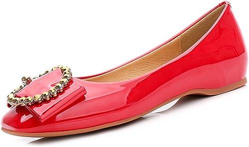 Zanzan Chaussures de loisirs tout-aller pour femmes Chaussures à à boucles paresseuses résistantes à l'usure avec boucle en métal antidérapante,rouge,38  économiser 60% de réduction