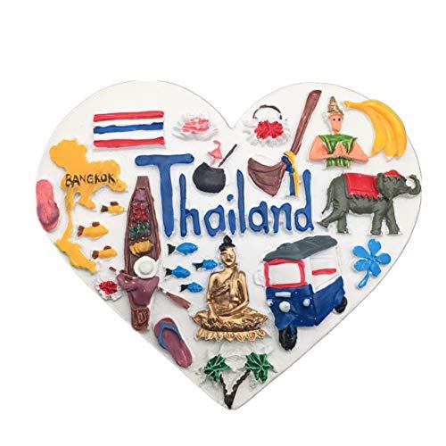 Weekinglo Souvenir Imán de Nevera Tailandia Asia 3D Resina Artesanía Hecha A Mano Turista Viaje Ciudad Recuerdo Colección Carta Refrigerador Etiqueta