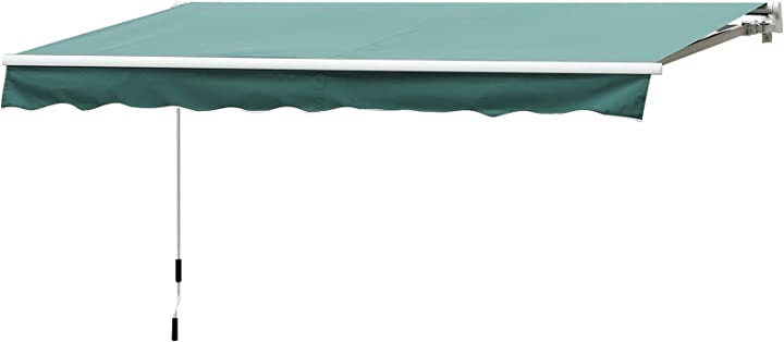 Tenda da sole da esterno avvolgibile impermeabile verde scuro 3×2,5m outsunny IT840-150GN0631