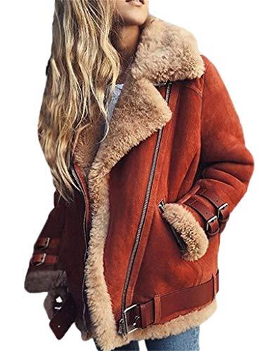 Damen Kunstpelz Jacke Zotteljacke Winter Fleece Mantel Outwear Shearling Jacke Fleece Open Front Coat Outwear