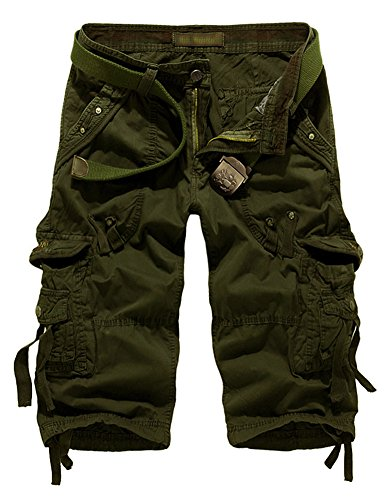 Men's Relaxed Fit Solid Long Cargo Shorts Capri Pants Army Green
