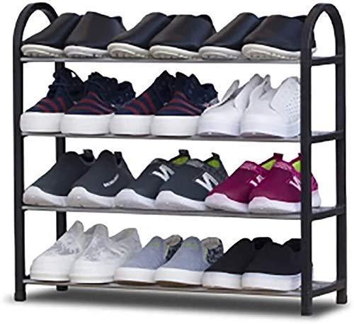 SHDS Zapatero de plástico de 4 Niveles Organizador de Zapatos de pie Estante de Almacenamiento de Entrada Estable y Duradero Zapatero versátil - Negro 60x19x57cm (24x7x22inch) 1216 (Color: Negr