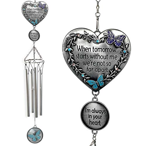 Memorial Windchimes Condolence - When Tomorrow Starts Without Me I'm Always in Your Heart Saying - Heart and Butterfly Design Garden Wind Chime - in Loving Memory Chimes - Sorry for Your Loss Gifts
