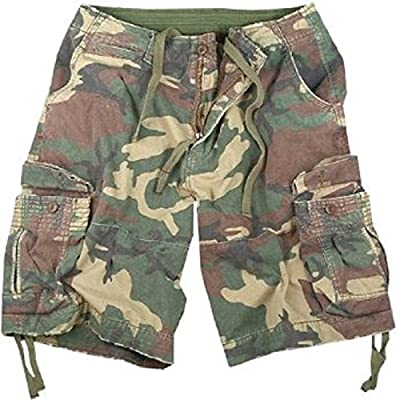 Woodland Camo Infantry Vintage Military Cargo Utility Shorts, Large