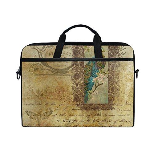 Ahomy 14 Zoll Laptop-Tasche, Scrapbook Pfau Canvas Stoff Laptop Tasche Bussiness Handtasche mit Schultergurt für Damen und Herren