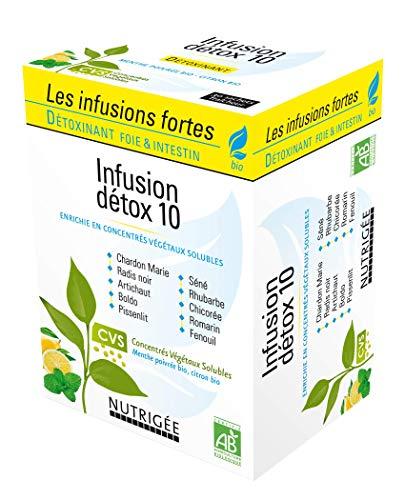 Infusion Détox 10 • Détoxinant Foie & Intestin • Huiles essentielles Menthe Poivrée & Citron • Issue de l'agriculture Bio • 30 sachets • Fabriqué en France • Nutrigée