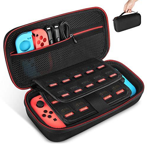 Keten - Funda de Transporte para Nintendo Switch, Funda Protectora portátil de Viaje con 19 Soportes de Cartuchos para conmutador, Consola, Joy-con y Otros Accesorios, Color Negro