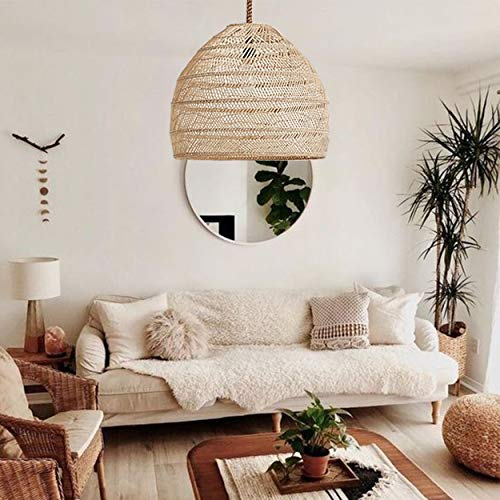 Arturesthome Natural Rattan Pendant Light,Woven Lamp Shade,Ceiling Light Shade,Handmade Lampshade,Rope Lamp Shade - 40cm35cm