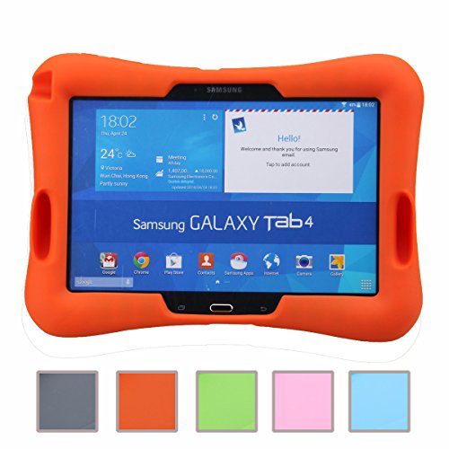 NEWSTYLE Samsung Galaxy Tab 4 10.1 Kinderfre&liche Silikon Hülle Schutzhülle Tasche Hülle für Samsung Tab 4 SM-T530/T531/T535 Tab 3 GT-P5200 P5210 P5220 (10,1 Zoll) - Orange