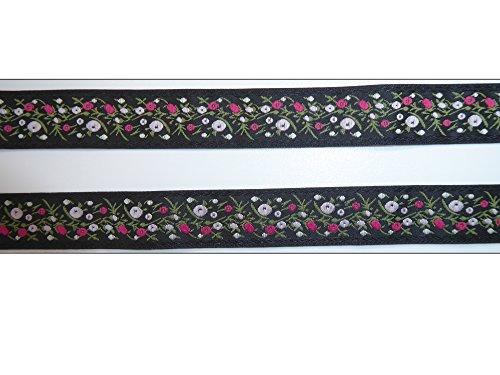 2 m Borte 2,21€/m Blumen Blüten Trachten Wiesn Bordüre Zierband Webband Landhaus Dirndl 20 mm breit Farbe: schwarz/ rose'/ fuchsia/ grün