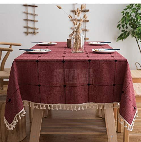 Tischdecken Outdoor-Tischdecken Quadratisches Gitter Bestickte Tischdecke Reine Farbe Baumwolle Leinen Kunst Quaste Rechteckiger Couchtisch Esstisch Matte Tischdecke -100 * 160 cm (geeignet für norma