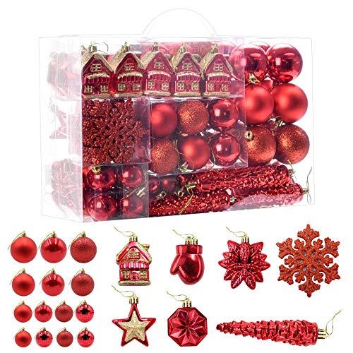 HAIGOU Lot de 113 boules de Noël pour sapin de Noël (rouge)
