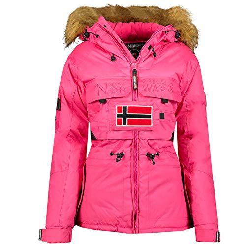 Geographical Norway Belliao Lady – Parka cálida para mujer – Abrigo grueso con capucha de piel sintética – Chaqueta cortavientos invierno – Abrigo largo con forro cálido para mujer (Fucsia, L)