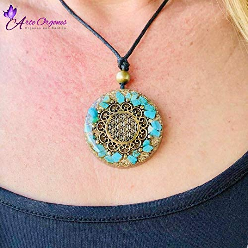 Healing crystals with sacred geometry for EMF protection Orgonite necklace by Seed of Life moonstone and pink quartz Orgone pendant with turquoise