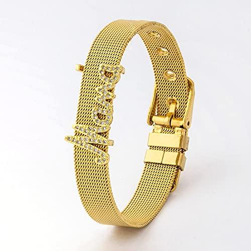 Pulsera Joyas Reloj De Acero Inoxidable A La Moda con Correa, Brazalete De Oro para Mujer, Joyería para El Día De La Madre, Pulsera