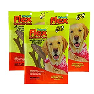 Fido Flex Hip and Joint Care Bones for Dogs, Made with Glucosamine, Chondroitin, and Cherries – Promotes Mobility, Joint Function, and Naturally Reduces Plaque – 8 Medium Treats
