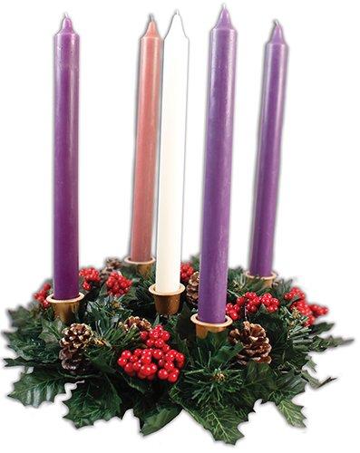 Juego de 6 velas con soporte y corona de Adviento, 25,4 cm, en caja