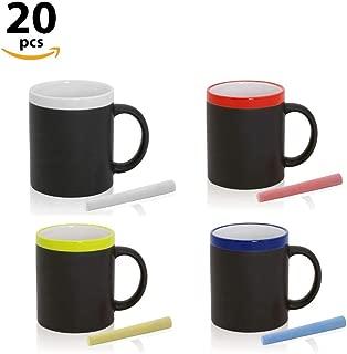 Home Fan Line - Tazas Pizarra para colorear con tiza, en caja de regalo (Varios Colores, Lote 20)
