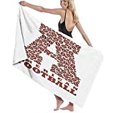 Grande Suave Toalla de Baño Manta,Primera Letra de la Forma del Alfabeto con Deportes de Atletismo de fútbol Americano,Hoja de Baño Toalla de Playa por la Familia Viaje Nadando Deportes,52' x 32'
