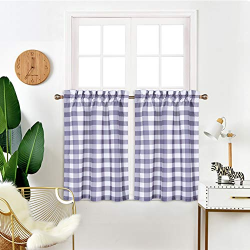"""IDEALHOUSE Grey and White Tier Curtains,Buffalo Check Plaid Gingham Short Window Curtain for Cafe,Farmhouse,Bathroom,Kitchen & Living Room Rod Pocket Curtains (2 Panels, 28""""x36"""")"""