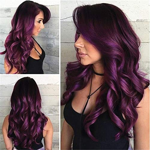 Cheveux longs bouclés longs ondulés violet foncé, 65cm, cheveux artificiels, fibre haute température en fibre chimique, utilisé pour les perruques quotidiennes des femmes et les perruques de fête