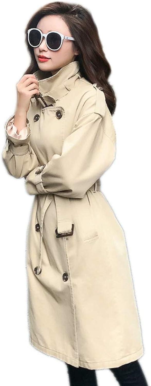 LHHJ Coat Cotton Casual Thin Women's Long Beige Jacket